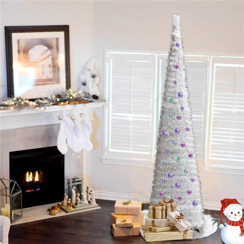YuQi 5FT Pop Pull Up Christmas Tinsel Slim Silver Tree