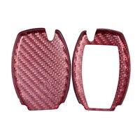 Premium real fibra de carbono vermelho chave fob capa apto para benz w212 w205 w222 chave fob remoto