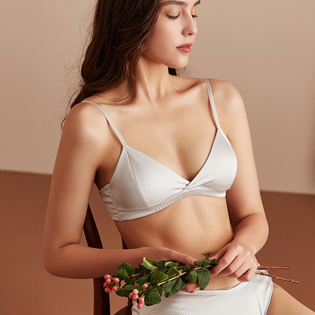 Pure silk bras for women Wireless Seamless brassiere Underwear push up thin padded sexy lingerie ladies Soft Healthy Pink 2