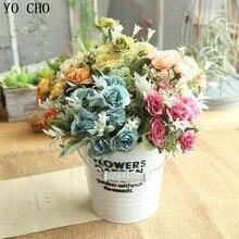 YO CHO 8 cabezas Vintage seda flores artificiales rosas largo plástico tallo boda Mesa flores de imitación tela flores falsas decoración del hogar