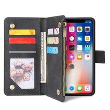 Custodia a portafoglio in pelle con cerniera per iPhone 12 11 Pro Max SE 2020 custodia a vibrazione custodia magnetica per iPhone XS Max X XR 6 6S 8 7 Plus