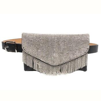 8PCS / LOT Fashion Elegant Ladies Waist Belt Money Pocket Diamond Tassel Luxury Belly Bag Mobile Phone Belt Waist Pack