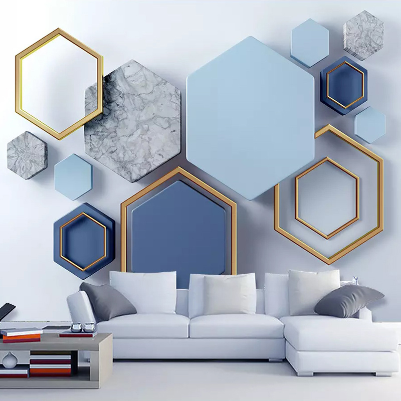 Custom Mural Wallpaper 3D Stereo Blue Geometric Fresco Living Room Bedroom Abstract Art Wall Sticker 3D Self-Adhesive Waterproof