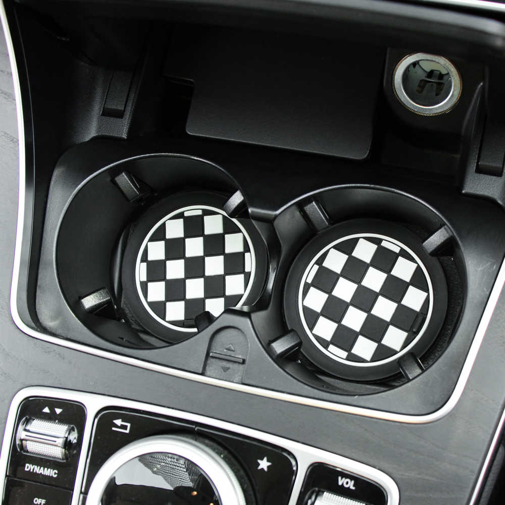 2 Pcs Mobil Styling PVC Non-Slip Coaster Mat Case untuk Renault Opel Lada VW Ford Toyota Chevrolet kia Skoda Volvo Suzuki Hyundai BMW