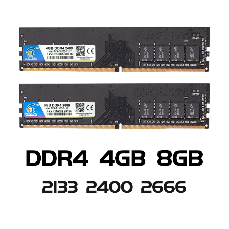 VEINEDA ddr4 8 gb ordinateur RAM 4GB 8GB 4G 8G mémoire DDR 4 PC4 2133 2400 2666Mhz carte mère de bureau Memoria 284 broches