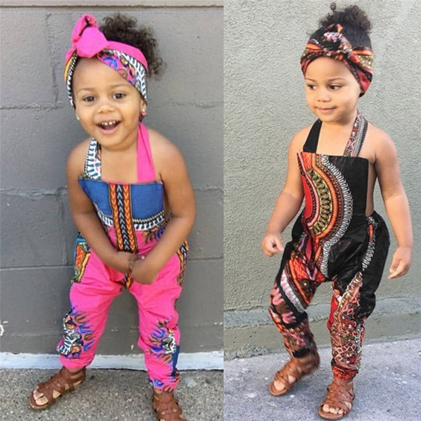 African Children Dashiki Dress Summer Fashion Bazin Riche Jumpsuit Girls National Backless Halter Pants Festival Party Wear
