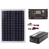 18V20W солнечная панель + 12V / 24V контроллер + 1500W инвертор Ac220V комплект, подходит для наружного и домашнего Ac220V солнечной энергии