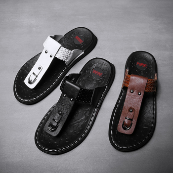 red man sandals punk style leather summer cool beach shoes cut out flip flops roman male black sandals high top man summer boot Summer Men Genuine Leather Flip Flops Beach Sandals Men Slippers Anti-skid Outdoor Fashion Metal Decoration Casual Shoes Man