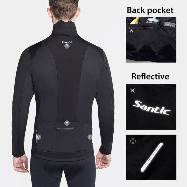 Santic roupas de ciclismo, roupas esportivas térmicas à prova de vento reflexivas para bicicleta, casaco e calças para ciclistas, tamanho asiático 4