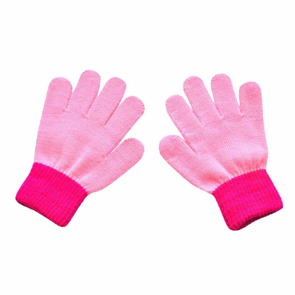 Baby Handschoenen Winter Kids Peuter Kinderen Kids Magic Handschoenen Colorblock Volledige Finger Warm Gebreide Handschoenen baby wanten варежки