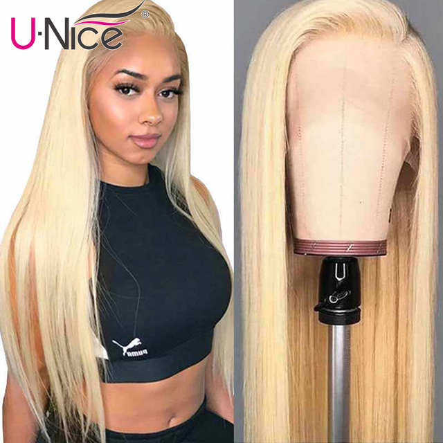 $ US $85.58 13*4/6 Transparent Glueless Lace Front Human Hair Wigs Brazilian Straight Human Hair Wigs PrePlucked Blonde Lace Wigs Unice Hair