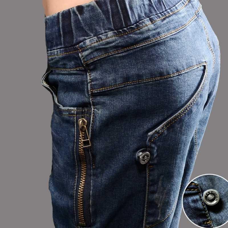 Primavera calças de brim mulher estilo rua cintura elástica solto lápis jeans azul hip hop streetwear calças rendas até calças de brim de cintura alta