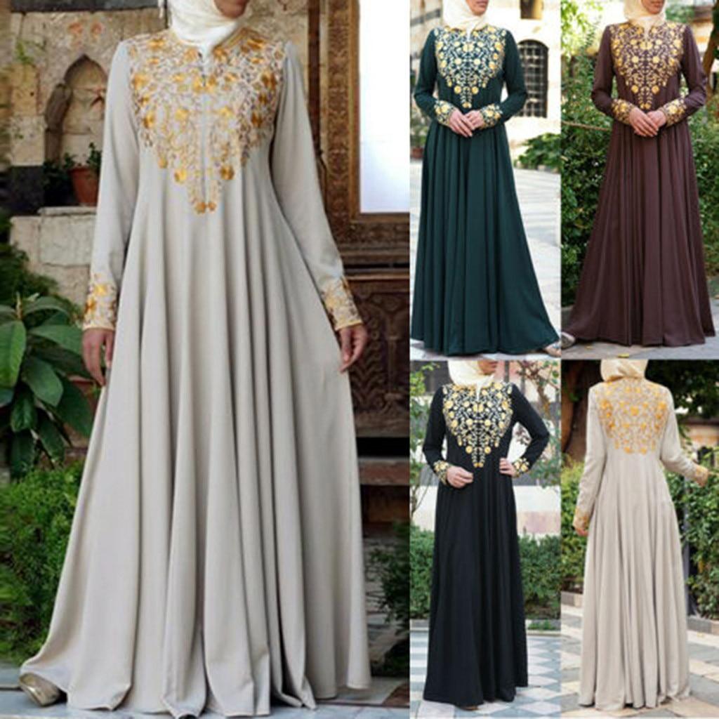 Femme Musulman Pakistan Muslim Women Muslim Maxi Long Dress Dubai Abaya Robe Islam Kaftan Print Long Sleeve S-5XL Muslim Dress