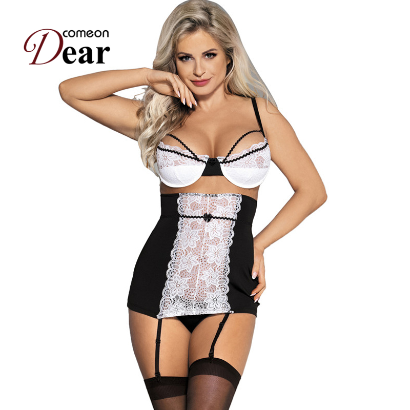 Comeondear <font><b>Babydoll</b></font> <font><b>Dress</b></font> for Women Spaghetti Strap <font><b>Sexy</b></font> Lace Lingerie Sleepwear <font><b>Dress</b></font> Plus Size Floral Nighty for Ladies R80427 image