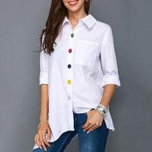 Irregular Thin Women Office Lady Shirt Top Plus Size Colorfu