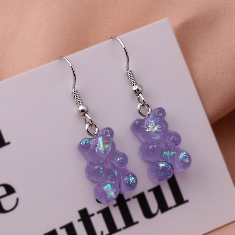 New Fashion Sequins Resin Gummy Bear Dangle Earrings for Women Girl DIY Cartoon Animal Bear Earrings Creative Drop Jewelry Gifts