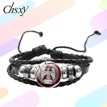 CHSXY SPQR Senate and People of Rome Bracelet Roman Empire Legions Eagle Emblem Retro Print Glass Snap Braided Leather Bracelet image