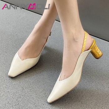 ANNYMOLI Crystal Genuine Leather High Heels Pumps Slingbacks Women Shoes Square Toe Thick Heel Footwear Lady Summer Black Beige