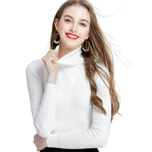 CHRLEISURE Woman High-necked Slim sweater Thicken warm Casual Solid Simple Autumn winter sweaters Comfortable Nylon knitting