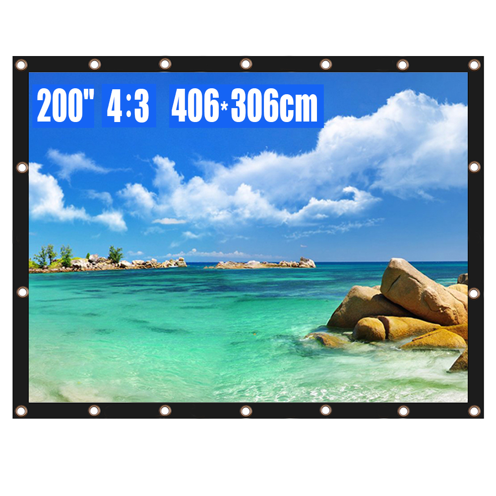 Tela do projetor 200 Polegada 4:3 hd dobrável anti-vinco filmes de projeção portátil tela para o escritório de cinema em casa ao ar livre indoor