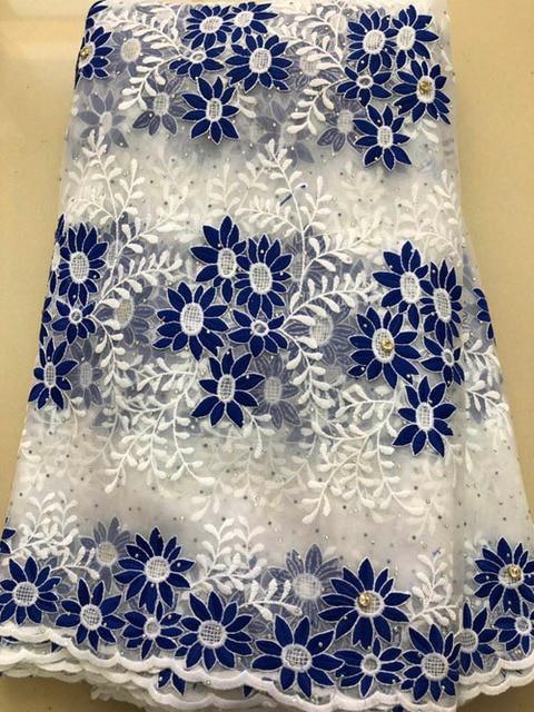 아프리카 레이스 패브릭 2020 고품질 프랑스어 HLL3878 메쉬 레이스 패브릭 비즈 나이지리아 우유 실크 레이스 직물 드레스 로얄 블루