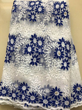 African Lace Fabric 2020 High Quality French HLL3878 Mesh Lace Fabric Beads Nigerian Milk Silk Lace Fabrics For Dress royal blue