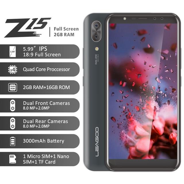 """LEAGOO Z15 telefon komórkowy 5.99 """"18:9 pełny ekran 2GB RAM 16GB ROM podwójna kamera tylna 3000mAh Android MT6580M czterordzeniowy 3G Smartphone"""