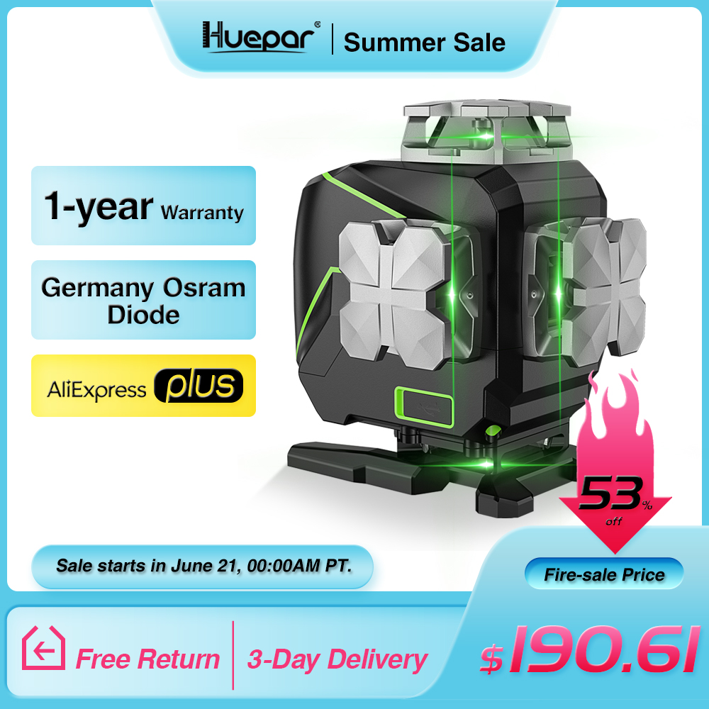 Huepar S04CG 16 lines 4D Cross Line Laser Level Bluetooth & Remote Control Functions Green Beam Lines With Hard Carry Case