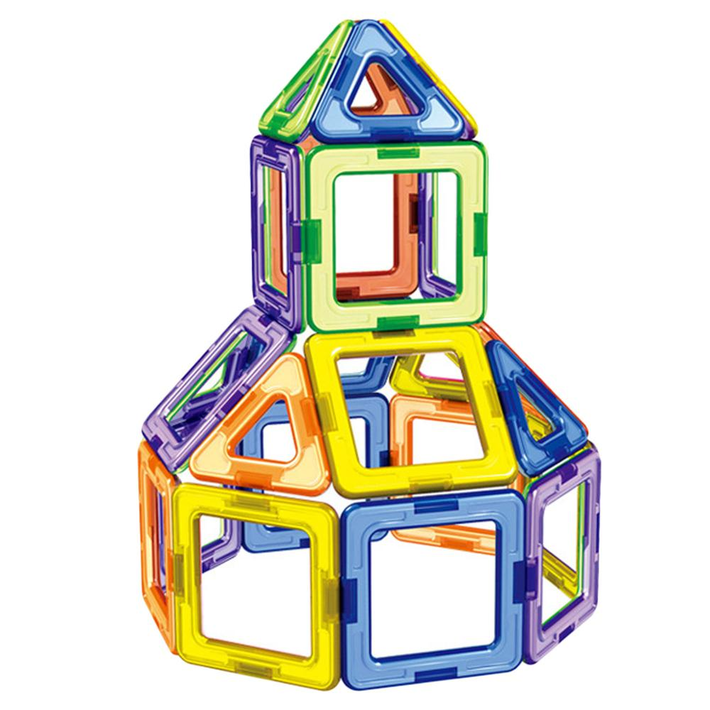 30pcs Magnetic Blocks Building Construction Toy Kid Building Stacking Triangle Square Pentagon Magnetic Block 3D Educational Toy