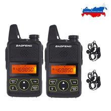 Walkie talkie baofeng t1 de 2 pçs/lote, rádio com dois canais BF-T1 uhf 400-470mhz 20ch portátil ham fm transmissor portátil de rádio cb