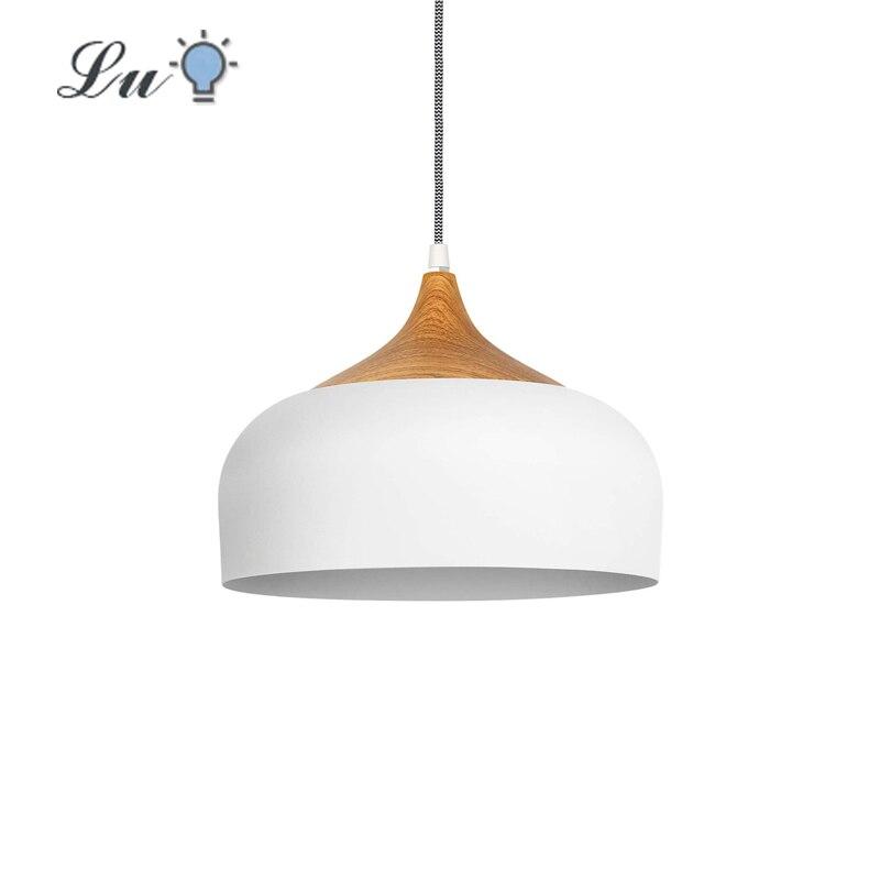 Luz pingente restaurante moderno padrão de madeira cúpula pendurado lâmpada para cozinha sala estar led alumínio decoração luminária