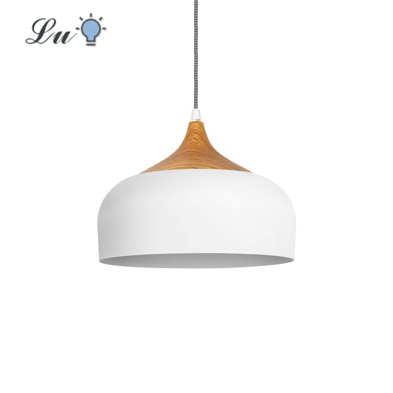 Pendant Light Restaurant Modern Wood Pattern Dome Hanging Lamp For Kitchen Living Room LED Aluminum Decoration Lighting Fixture
