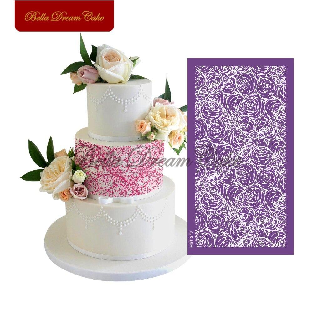 Розовый букет кружева дизайн торт трафарет сетки трафареты свадебный