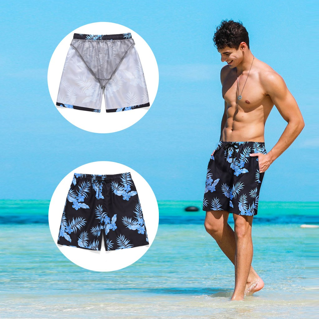 New Men Beach Board Shorts Quick-drying Men Swimming Men's Summer Hawaii Style Causal Slim Fit Colorful Printed Shorts Pants 03