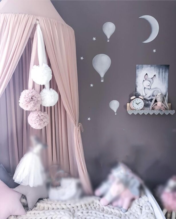 new children's bed curtain chiffon dome bed curtain baby bed curtain princess bed bed curtain 4 colors optional baby crib nets