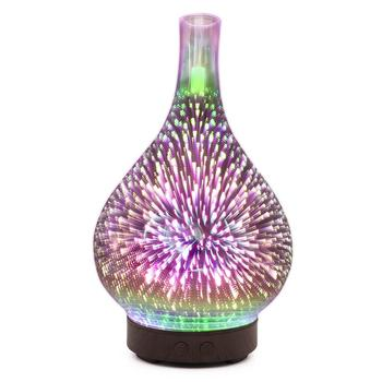 Fireworks Pattern Ultrasonic Air Humidifier Airpurifier Purifiers Portable Aroma Diffuser Car 3D Glass Exquisite Room Decor