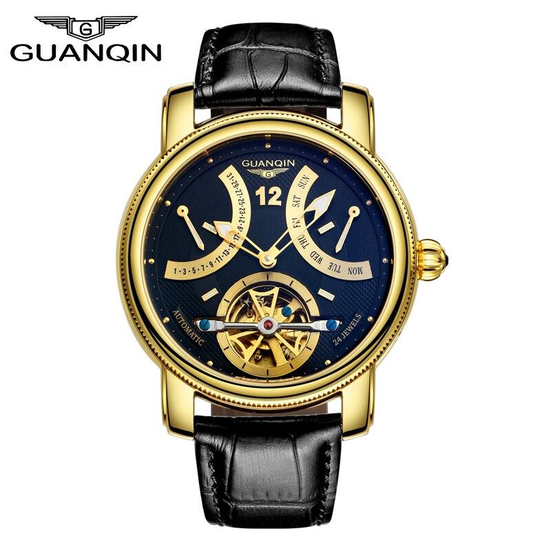 GUANQIN Uhren Männer Automatische mechanische Top Marke Luxus Mode Beiläufige Uhr Uhr Leucht Tourbillon lederband Männer Uhr-in Sportuhren aus Uhren bei  Gruppe 1