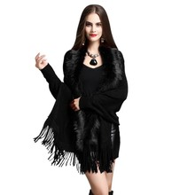 Newest Womens Fashion Fake Fox Fur Collar Cashmere Sweater Poncho Women Long Thick Knitted Tassel Cardigan Capes #2019.8.29