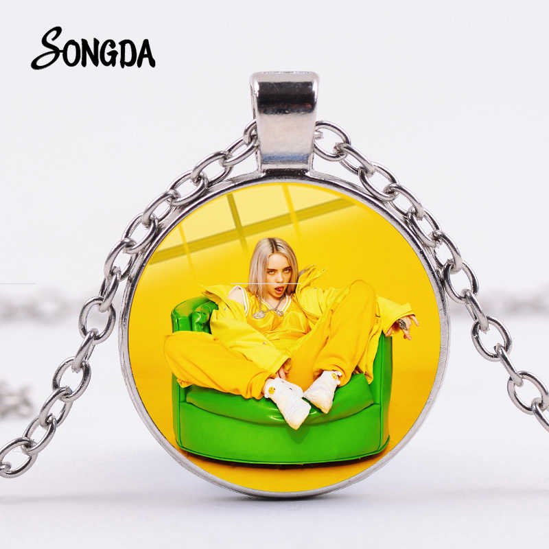 SONGDA Hot Billie Eilish Singer Photo Necklace Personality Grim Face Hip Hop Style Music Glass Dome Pendants Fans Unique Jewelry