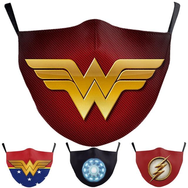 Superhero The Flash Thanos Iron Man Wonder Woman Cosplay Face Mask Dustproof Adult Kids Masks