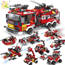 HUIQIBAO 806pcs Fire Fighting 8in1 Trucks Car Helicopter Boat Building Blocks City Firefighter Figures Man Bricks Children Toys