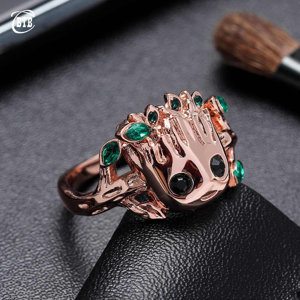 แต่งงานครบรอบแหวนใบ CZ Prong การตั้งค่า Rose Gold สีแฟชั่นผม Groot แหวนสำหรับของขวัญผู้หญิง