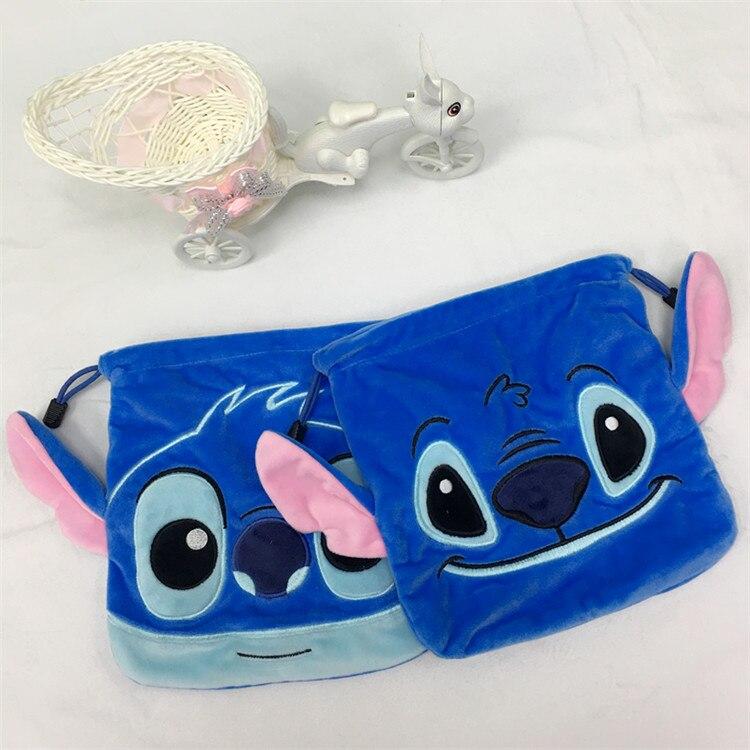 IVYYE Big Promotion Stitch Mickey Cartoon Drawstring Bags Cute Plush Storage Handbags Makeup Bag Coin Bundle Pocket Purses NEW