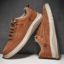 VastWave Pig Skin Leather Mens Casual Shoes Slip Resistent Rubber Luxury Man Leisure Leather Shoes For Male Canvas shoe