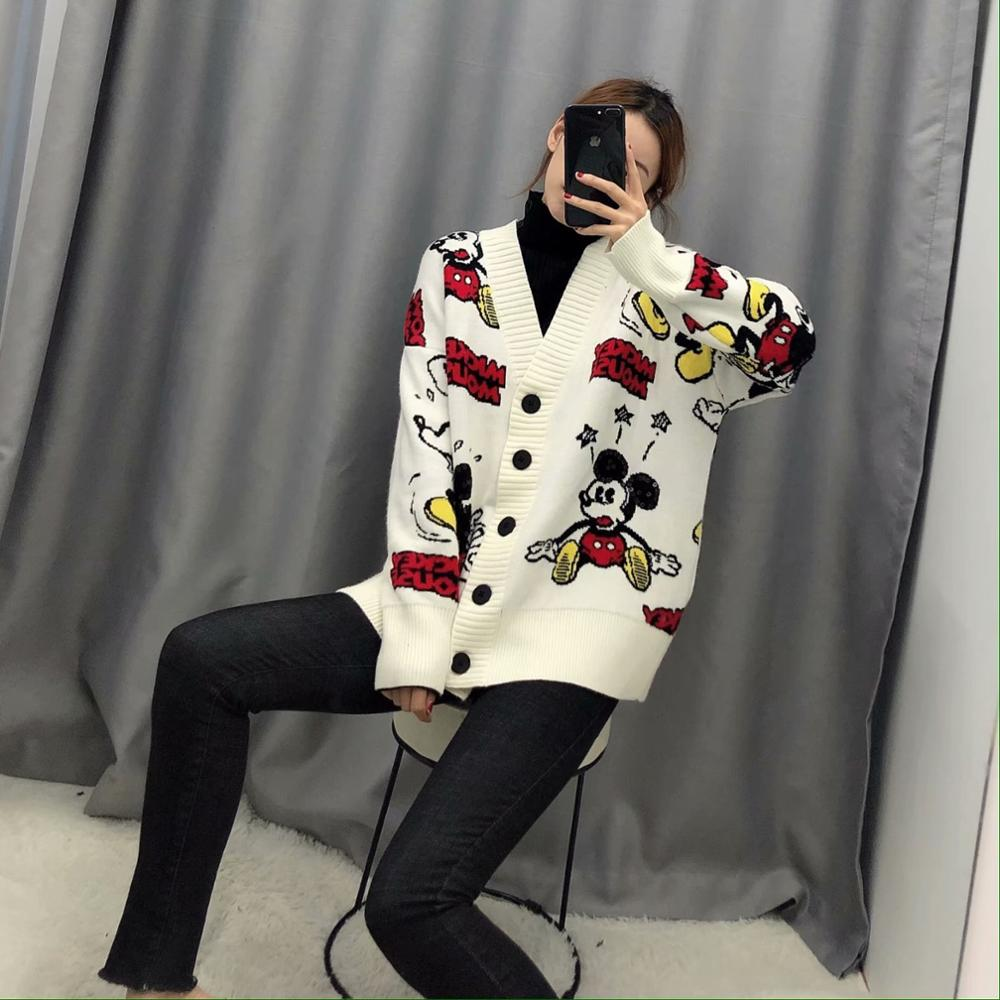 Casual Knitted Women Sweater Mouse Cartoon Cardigans Single Breast Long Sleeve Cardigans Thick Beige Women Ropa Mujer Za