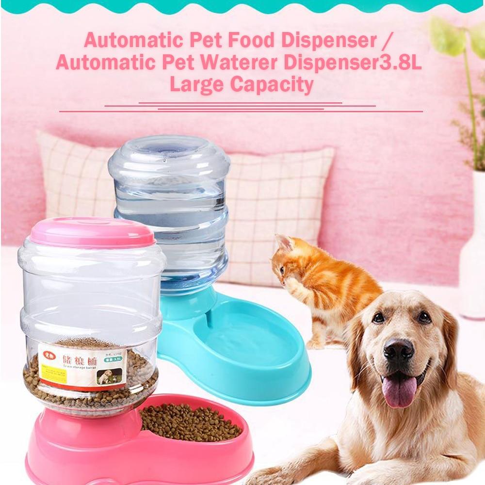 Dispenser automatico di alimenti per animali domestici 3.8L grande capacità auto-erogazione gravità alimentatore per animali domestici Waterer ciotola per alimenti per cani acqua per bevande 1