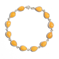 Women's Valentine's Day Gift 925 Sterling Silver Inlay Natural Chicken Oil Yellow Old Amber Wax Bracelet Bracelet