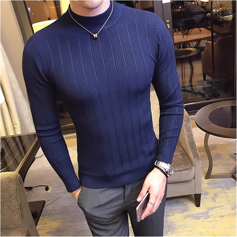 Fall Winter Men's Sweater Fashion Striped Casual Pure Color Pullover Men's Half Turtleneck Stretch Skinny Sweater Slim Knit Tops