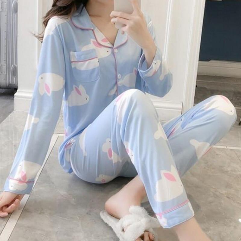 Sexy Women Pajama Sets Casual Homewear Female Pyjamas Long-sleeved Sleepwear Suits Spring Autumn New Thin Printed Home Wear