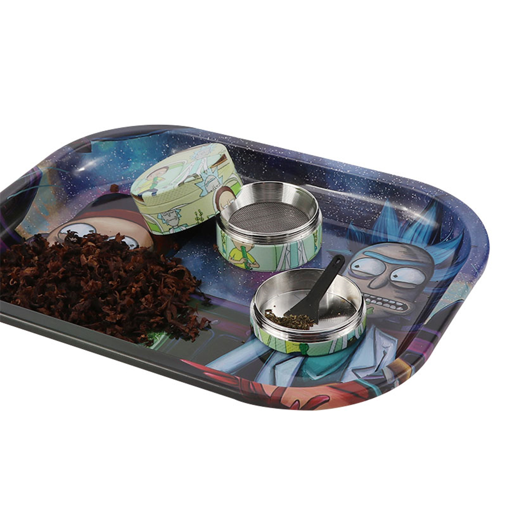 A Set Smoking Accessories Tobacco Rolling Tray Rolling Papers Cigarette Tool Tray Tobacco Storage Plate Herb Grinder Brush 1